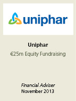 Uniphar. €25m equity fundraising. Financial adviser November 2013.