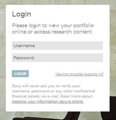 Login Page. Please login to view your portfolio online or to access research content.